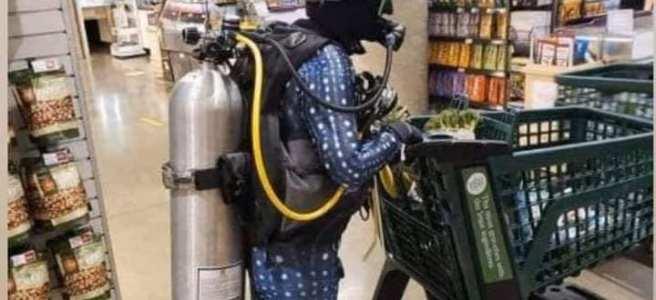 Skyddar mig ordentligt i affären.